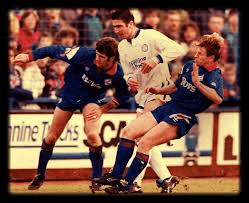 Cantona playing for Leeds on his debut vs Oldham in 1992.