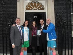 MP Stuart Andrew, Louisa Rodriguez, Elizabeth Yarwood, Nick Cane and Simon Buckden outside 10 Downing Street