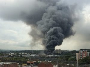 The fire at the Allied Glass factory. Photo: Neil Stephenson