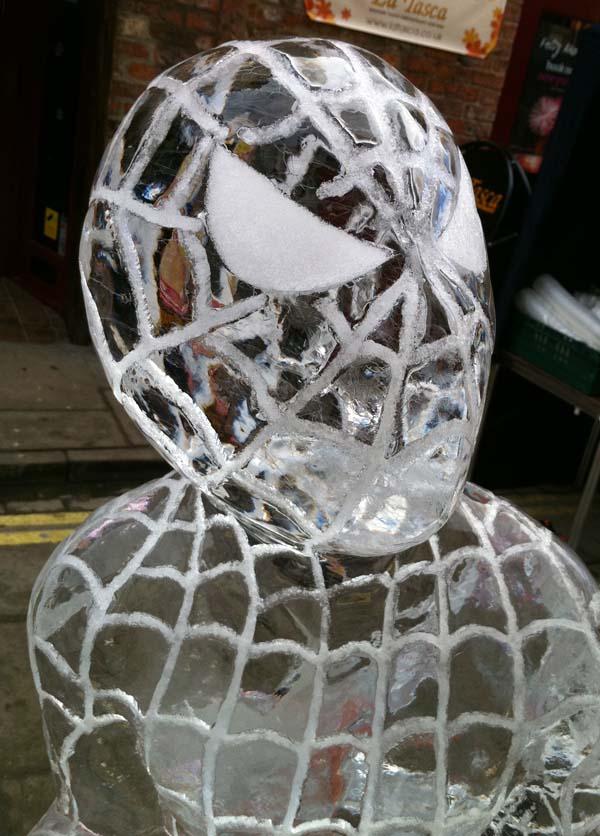 spiderman ice sculpture