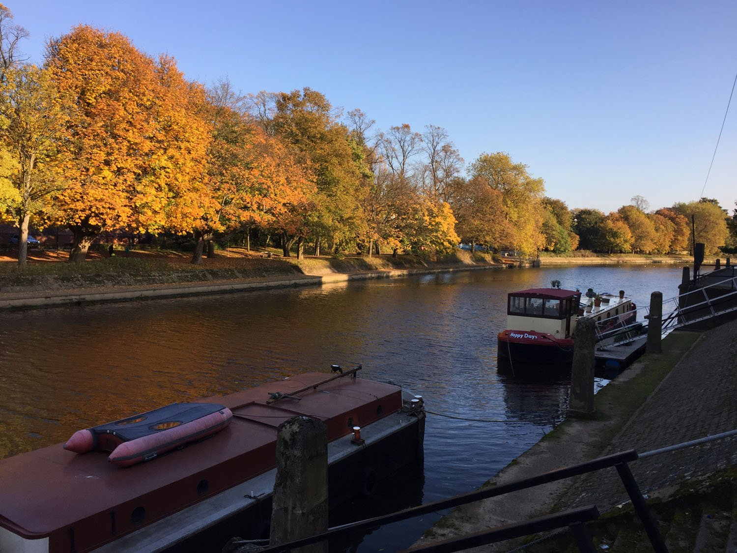 Autumn Colours - House boats on the River Ouse - York