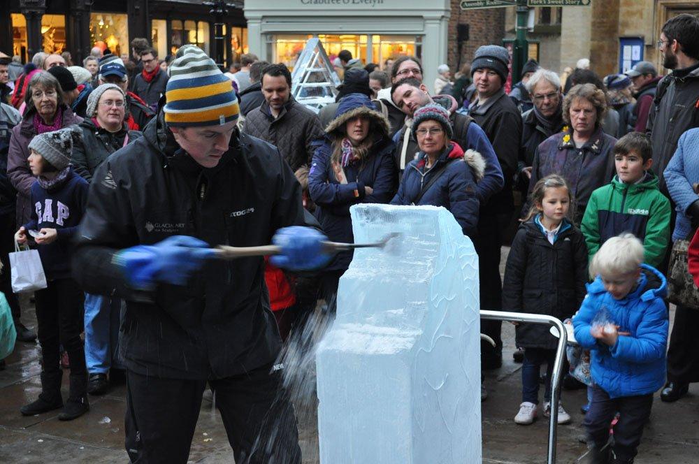 Carving an Ice Sculpture - near Betty's Tearoom - York