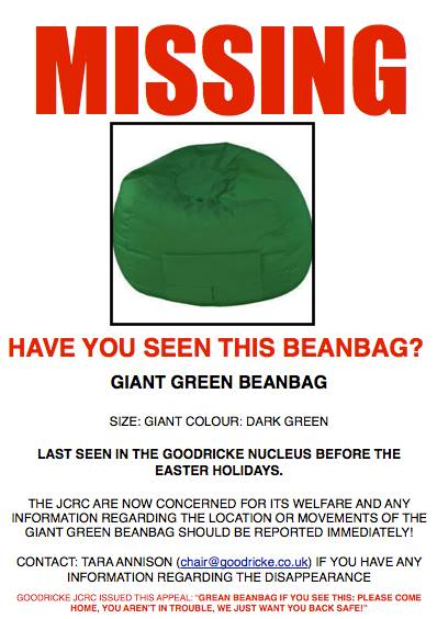 Urgent Appeal Issued For Teenage Boy 14 Missing After: Urgent Appeal After Beanbag Pinched From Goodricke College