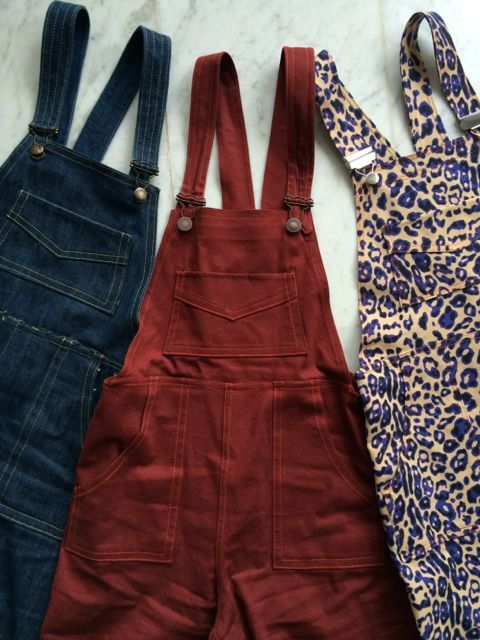 3 Pairs of Turia dungarees - pattern by Pauline Alice Patterns.
