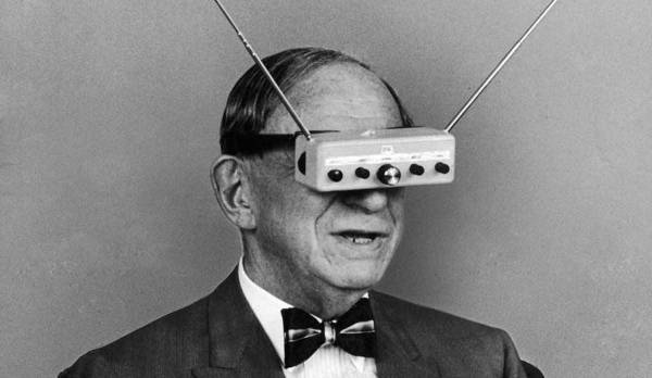 Image of man wearing electronics on his eyes