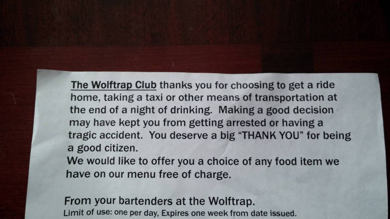 Image of a note given to bar patrons