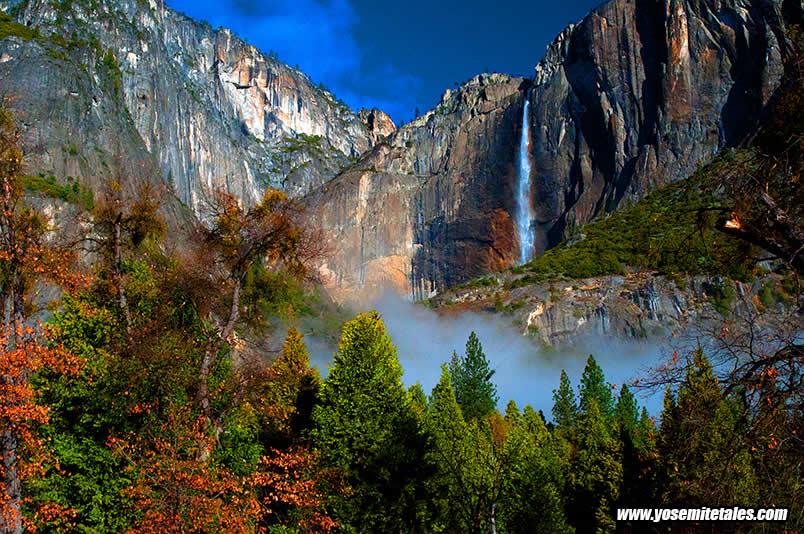 Yosemite Falls with Fog at the Base