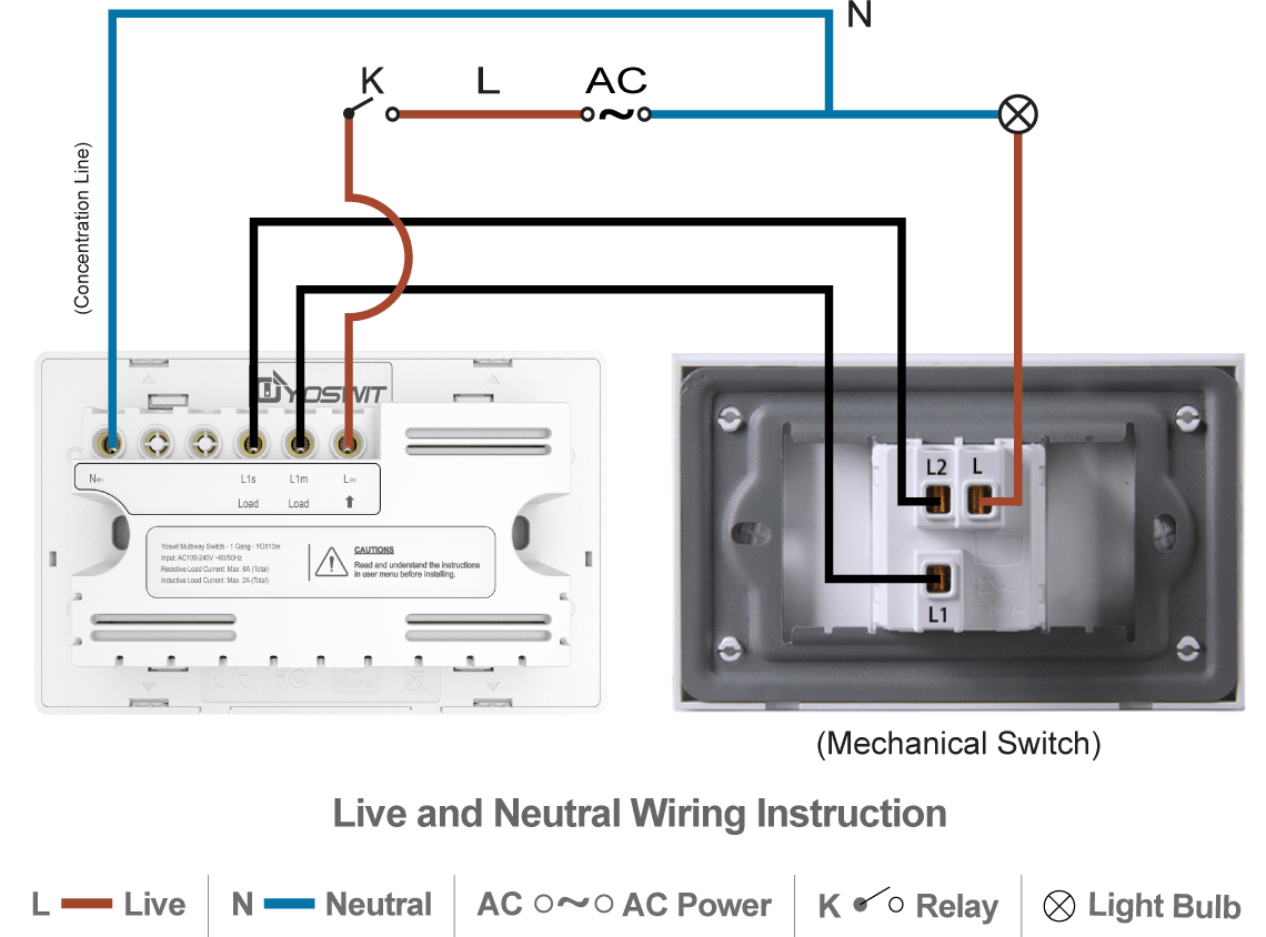 hight resolution of option 2 connect yoswit 3 way switch with common 3 way switch 3 wire with neutral wire
