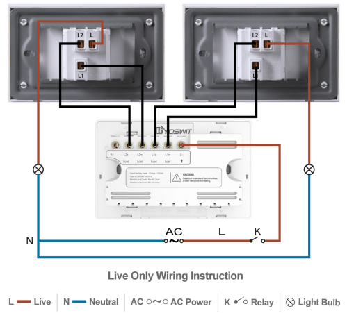 small resolution of option 1 connect yoswit 3 way switch with two common 3 way switches 2 wire without neutral wire