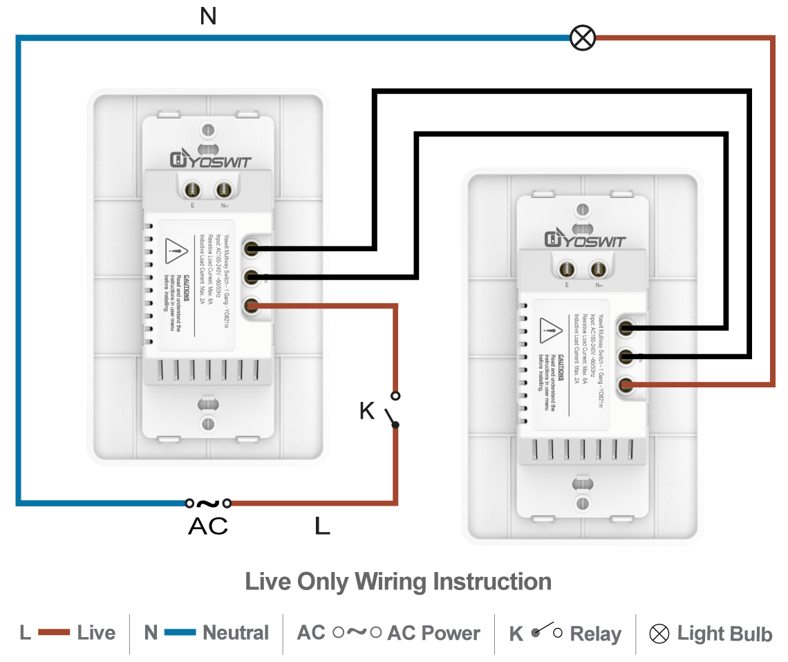 hight resolution of option 3 connect two yoswit 3 way switches 2 wire without neutral wire