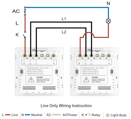 small resolution of option 3 connect two yoswit 3 way switches 2 wire without neutral wire