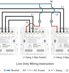 option 3 connect three yoswit 3 way switches 2 wire without neutral wire  [ 1140 x 871 Pixel ]