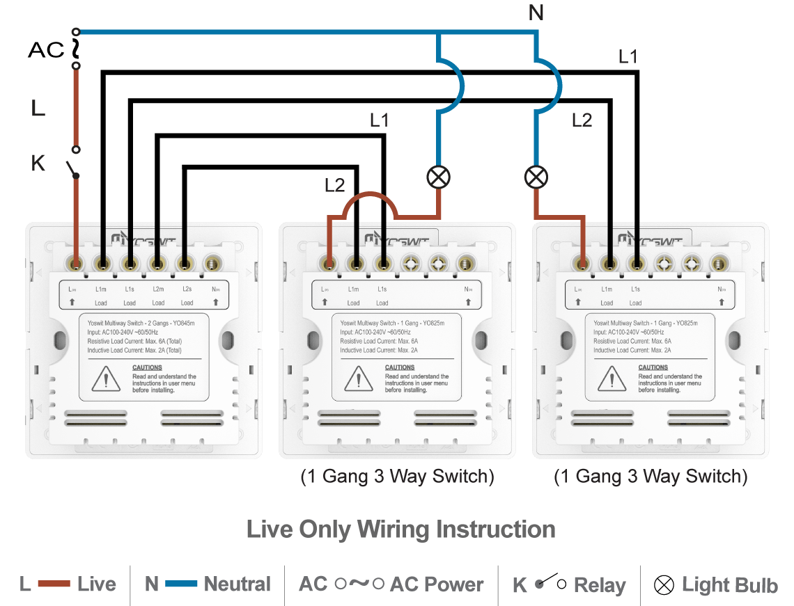 hight resolution of option 3 connect three yoswit 3 way switches 2 wire without neutral wire