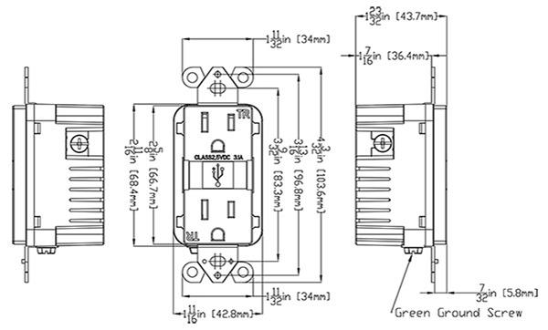 4.8A USB Charger/15A Duplex Tamper-Resistant Receptacle