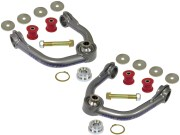 """Kit Includes: Upper Control Arms, Urethane Bushings, Inner Sleeves, Spindle Slug  Adapters & Retaining Clips, 1"""" I.D. Stainless Steel Uniballs, Upper & Lower Hi-Misalignment Spacers, Zinc Plated End Washers, Grade 8 Mounting Hardware"""