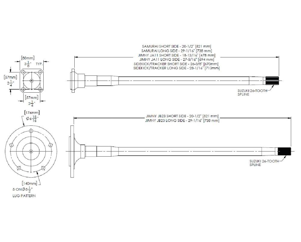 medium resolution of longfield sidekick tracker rear axle kit