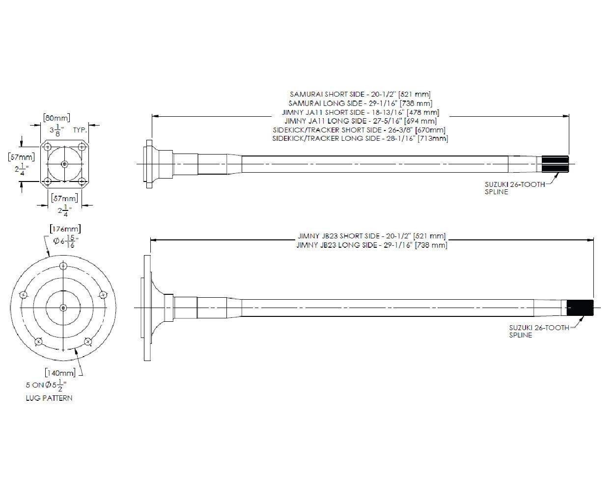 hight resolution of longfield sidekick tracker rear axle kit