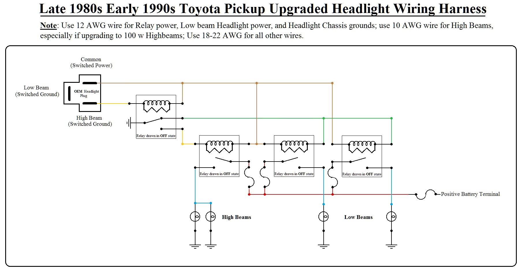 hight resolution of headlight upgrade with wiring schematic toyota wiring upgrade 1 png