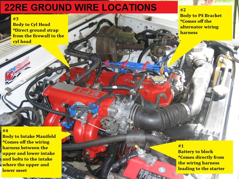 1986 toyota pickup wiring diagram house light switch 22re ground wire locations - the guide!!! yotatech forums