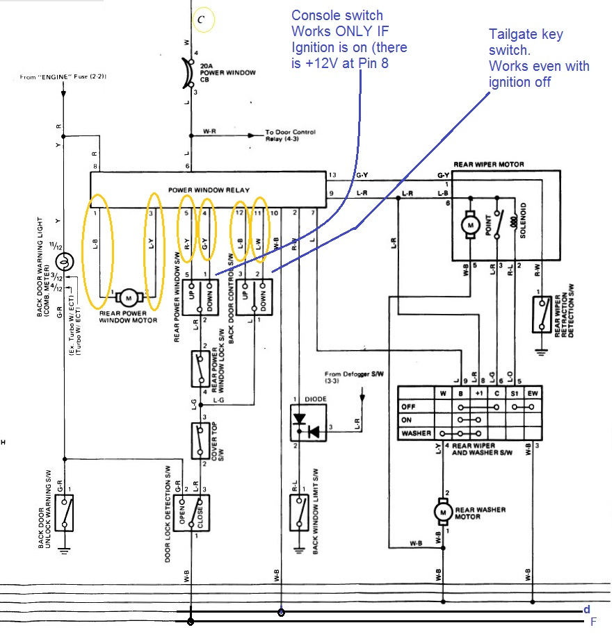hight resolution of 87 4runner rear window issues motor is fine yotatech forums 1986 toyota 4runner rear window wiring diagram