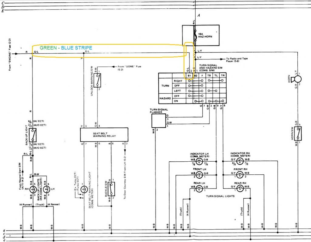 1991 toyota 4runner radio wiring diagram for kohler cv15s 85 pickup hazards work but blinkers dont yotatech forums