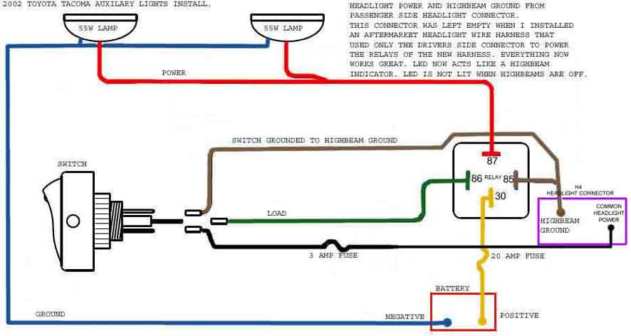 spotlight wiring diagram with switch tekonsha voyager brake controller electric primus iq headlight dimmer great installation of 2002 tacoma 4x4 highbeam question yotatech forums rh com circuit relays jeep