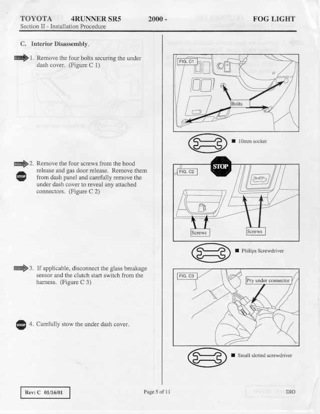 1999-2002 4runner SR5 Fog Light Installation Instructions