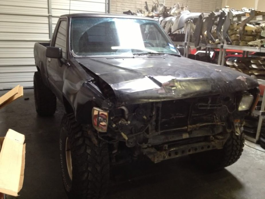 Wrecked 1988 Toyota Pickup Front