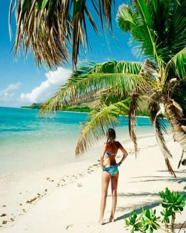 Fiji beach palm girl