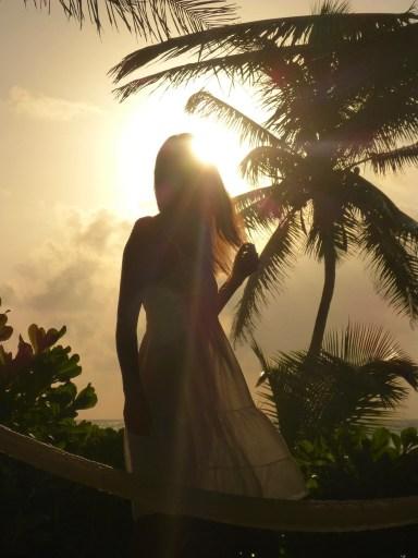 Mexico Tulum sunrise palm