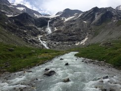 Waterfall glacier Großglockner
