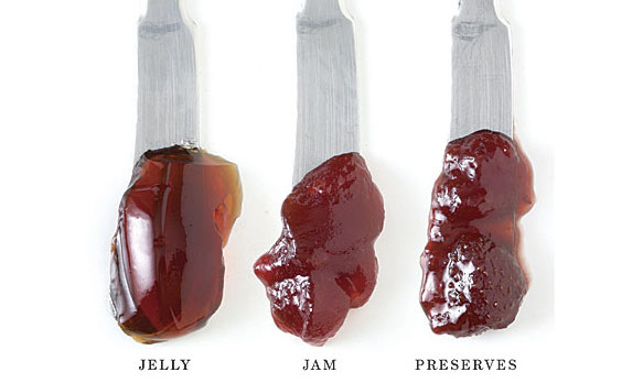 Commonly Confused Cooking Terms: 3 small spreaders with a scoop of jelly on the first, jam in the middle, and preserves on the end spreader all on a white surface