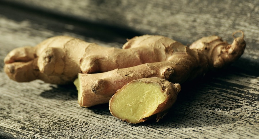 Close up of cut ginger