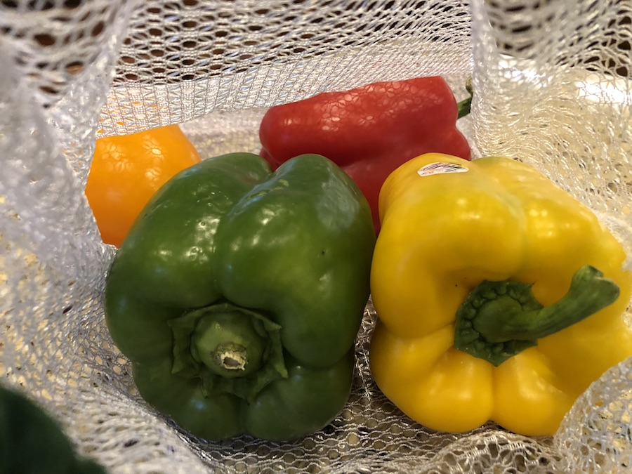 Green pepper, yellow pepper, red pepper, and orange pepper in a mesh grocery bag