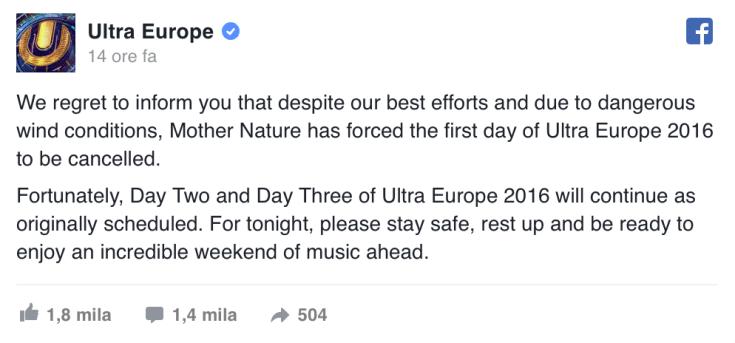 Ecco il comunicato su Facebook, che annuncia l'annullamento del Day 1
