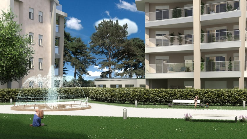 Rendering dell'Eco Villaggio Lops