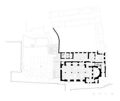 Piano terra con (1) bar/ristorante, (2) cucina, (3) pizzeria, (4) sala ristorazione, (5) giardino pergolato, (6) manufatto di servizio