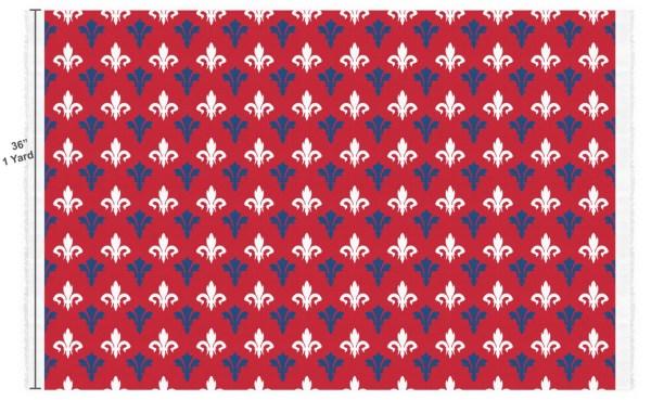 Patriotic Fleur de Lis Custom Fabric - Spun Polyester Poplin (Personalized) - YouCustomizeIt