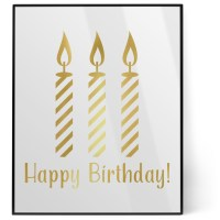 Happy Birthday 8x10 Foil Wall Art - White (Personalized ...