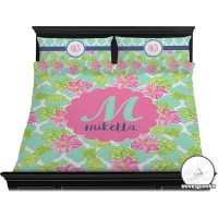 Preppy Hibiscus Duvet Cover Set - King (Personalized ...
