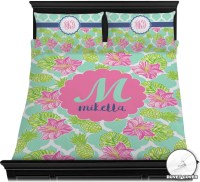 Preppy Hibiscus Duvet Cover Set (Personalized