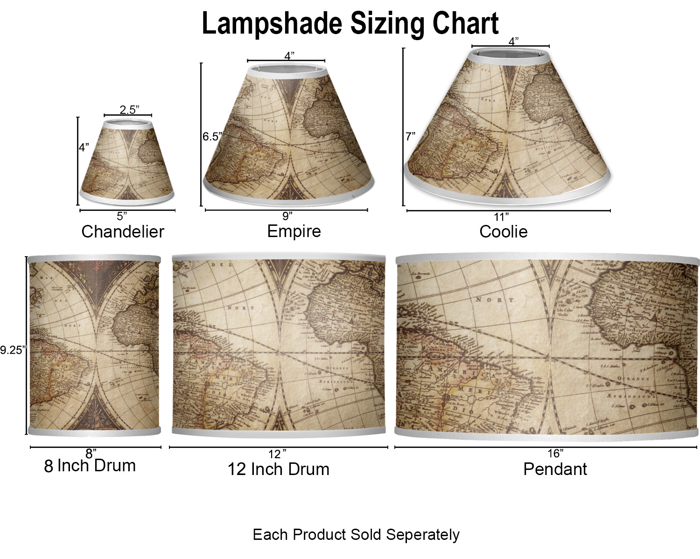 medium resolution of  vintage world map lamp sizing chart