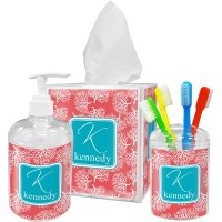 Coral & Teal Bathroom Accessories Set (Personalized ...