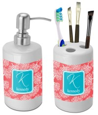 Coral & Teal Bathroom Accessories Set (Ceramic ...
