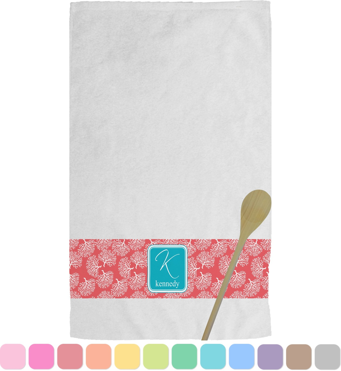 personalized kitchen towels stainless steel hood coral and teal towel youcustomizeit