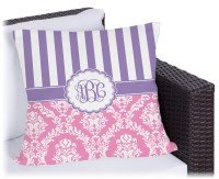 """Pink & Purple Damask Outdoor Pillow - 26"""" (Personalized ..."""