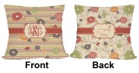 Chevron & Fall Flowers Outdoor Pillow (Personalized ...