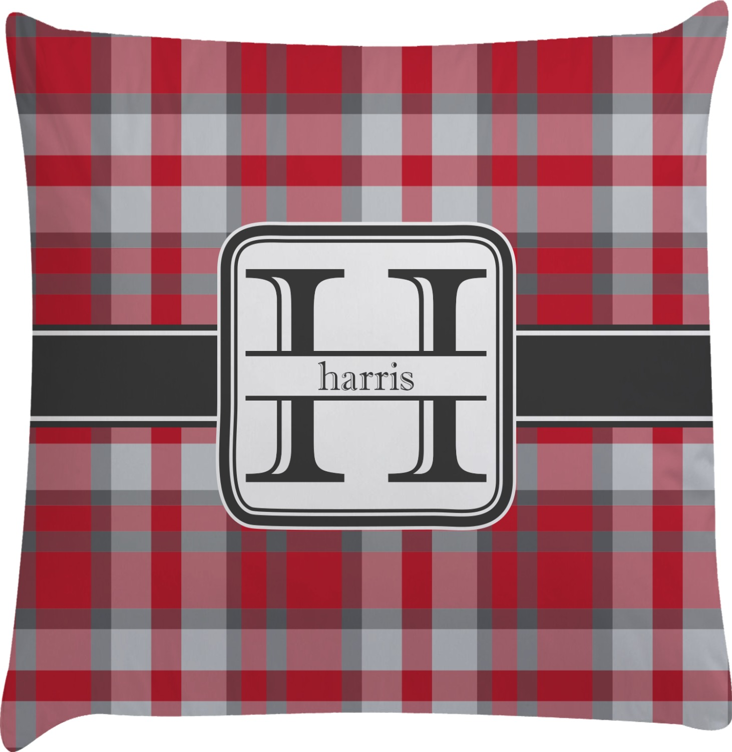 red gray plaid decorative pillow case personalized