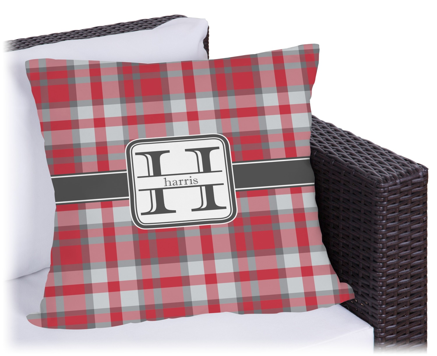 red gray plaid outdoor pillow personalized