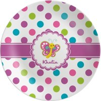 Polka Dot Butterfly Melamine Plate (Personalized ...